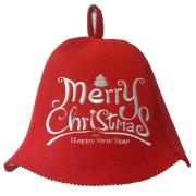 Шапка искусственный фетр красная » Merry christmas»