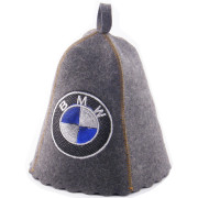 Шапка для сауны  серая с вышивкой «BMW»