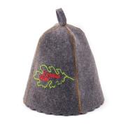 Шапка для сауны  серая с вышивкой «Хозяин бани «