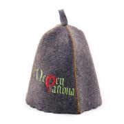 Шапка для сауны  серая с вышивкой «Перец района»